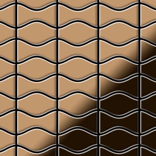 Mosaik Fliese massiv Metall Titan hochglänzend in kupfer 1,6mm stark ALLOY Kismet & Karma-Ti-AM Designed by Karim Rashid 0,86 m2 – Bild 1