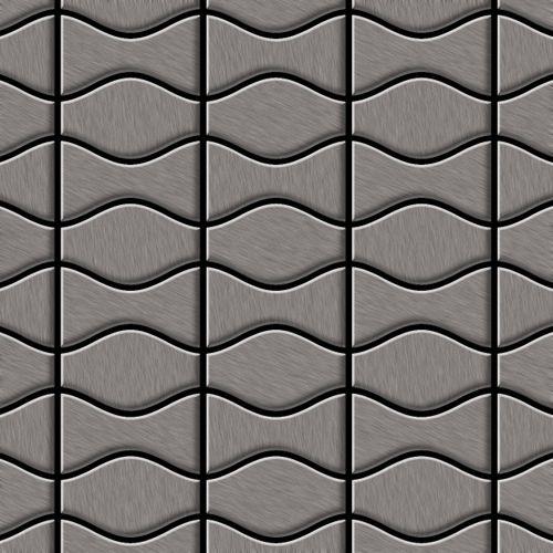 Azulejo mosaico de metal sólido Titanio Smoke cepillado gris oscuro 1,6 mm de grosor ALLOY Kismet & Karma-Ti-SB diseñado por Karim Rashid 0,86 m2 – Imagen 1