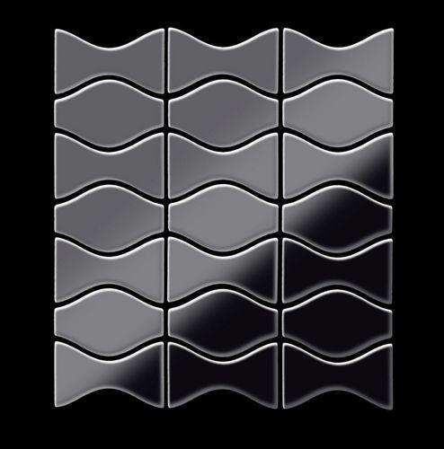 Mosaik Fliese massiv Metall Titan hochglänzend in dunkelgrau 1,6mm stark ALLOY Kismet & Karma-Ti-SM Designed by Karim Rashid 0,86 m2 – Bild 3