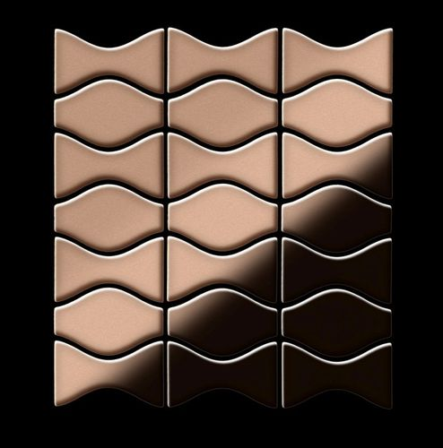Mosaik Fliese massiv Metall Kupfer gewalzt in kupfer 1,6mm stark ALLOY Kismet & Karma-CM Designed by Karim Rashid 0,86 m2 – Bild 3