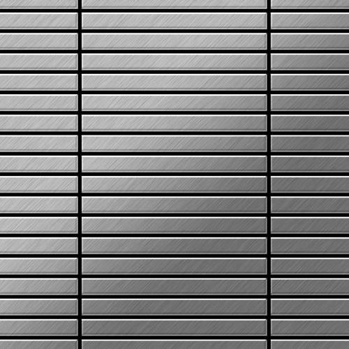 Mozaïektegels massief metaal roestvrij staal geborsteld grijs 1,6 mm dik ALLOY Linear-S-S-B  – Bild 1
