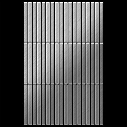 Azulejo mosaico de metal sólido Acero inoxidable cepillado gris 1,6 mm de grosor ALLOY Linear-S-S-B 0,94 m2 – Imagen 3
