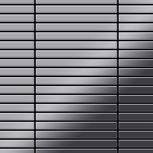 Mosaik Fliese massiv Metall Edelstahl marine hochglänzend in grau 1,6mm stark ALLOY Linear-S-S-MM 0,94 m2 – Bild 1
