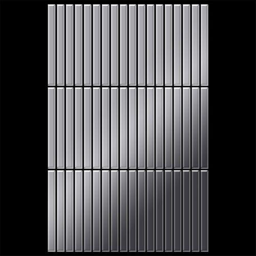 Azulejo mosaico de metal sólido Acero inoxidable Marine pulido espejo gris 1,6 mm de grosor ALLOY Linear-S-S-MM 0,94 m2 – Imagen 3