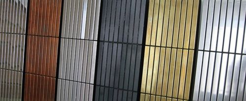 Mozaïektegels massief metaal titaan Amber geborsteld koperrood 1,6 mm dik ALLOY Linear-Ti-AB  – Bild 5