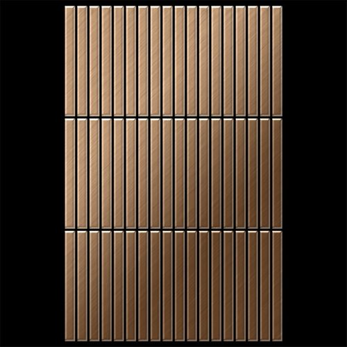 Mozaïektegels massief metaal titaan Amber geborsteld koperrood 1,6 mm dik ALLOY Linear-Ti-AB  – Bild 3