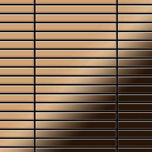 Azulejo mosaico de metal sólido Titanio Amber espejo cobre 1,6 mm de grosor ALLOY Linear-Ti-AM 0,94 m2 – Imagen 1