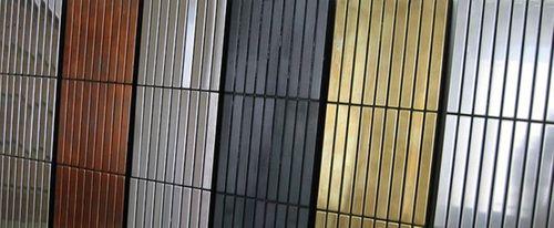 Mozaïektegels massief metaal titaan Amber hoogglanzend koperrood 1,6 mm dik ALLOY Linear-Ti-AM  – Bild 4