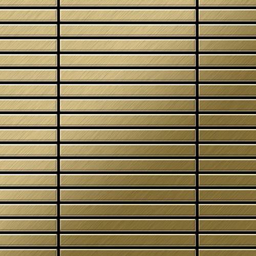 Mosaico metallo solido Titanio spazzolato Gold oro spesso 1,6 mm ALLOY Linear-Ti-GB – Bild 1
