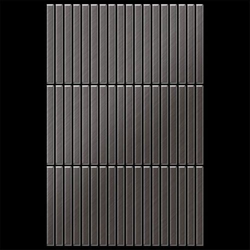 Azulejo mosaico de metal sólido Titanio Smoke cepillado gris oscuro 1,6 mm de grosor ALLOY Linear-Ti-SB 0,94 m2 – Imagen 3