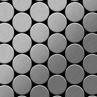 Metal Mosaic Tile Stainless Steel brushed grey 1,6mm Medallion-S-S-B