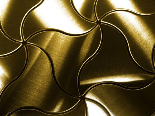 Mosaik Fliese massiv Metall Titan gebürstet in gold 1,6mm stark ALLOY Ninja-Ti-GB Designed by Karim Rashid 0,67 m2 – Bild 7