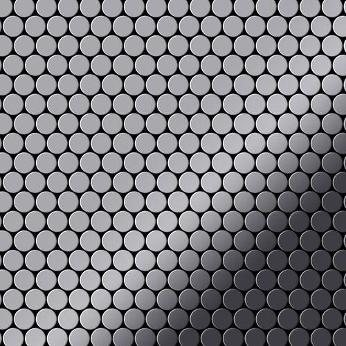Mosaik Fliese massiv Metall Edelstahl marine hochglänzend in grau 1,6mm stark ALLOY Penny-S-S-MM 0,88 m2 – Bild 1