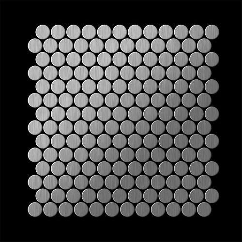 Mosaik Fliese massiv Metall Edelstahl marine gebürstet in grau 1,6mm stark ALLOY Penny-S-S-MB 0,88 m2 – Bild 3