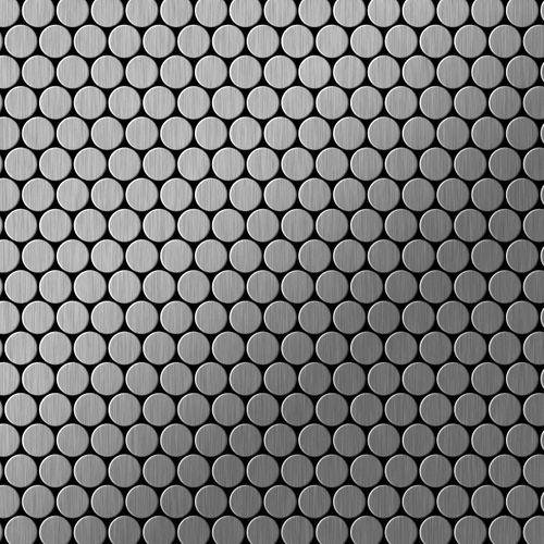 Mosaik Fliese massiv Metall Edelstahl marine gebürstet in grau 1,6mm stark ALLOY Penny-S-S-MB 0,88 m2 – Bild 1