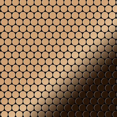 Mosaïque métal massif Carrelage Titane miroir Amber cuivre Grosseur 1,6mm ALLOY Penny-Ti-AM 0,92 m2 – Bild 1