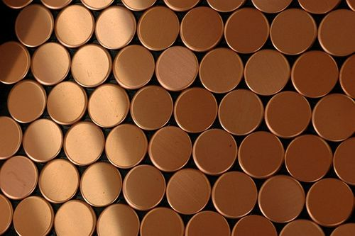 Mozaïektegels massief metaal gewalst koper koperrood 1,6 mm dik ALLOY Penny-CM – Bild 5