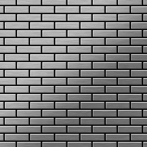 Mosaik Fliese massiv Metall Edelstahl gebürstet in grau 1,6mm stark ALLOY PK-S-S-B 0,88 m2 – Bild 1