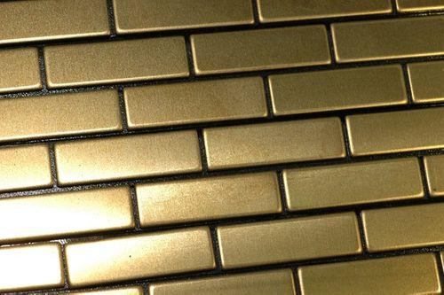 Mosaik Fliese massiv Metall Titan gebürstet in gold 1,6mm stark ALLOY PK-Ti-GB 0,88 m2 – Bild 4