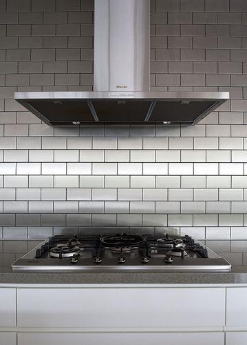 Mozaïektegels massief metaal roestvrij staal geborsteld grijs 1,6 mm dik ALLOY Subway-S-S-B – Bild 7