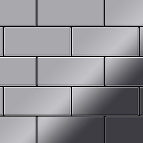 Mosaik Fliese massiv Metall Edelstahl hochglänzend in grau 1,6mm stark ALLOY Subway-S-S-M 0,58 m2 – Bild 1
