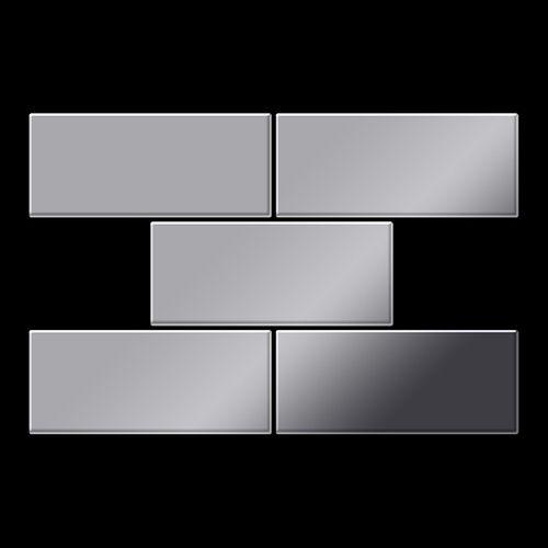 Mozaïektegels massief metaal roestvrij staal Marine hoogglanzend grijs 1,6 mm dik ALLOY Subway-S-S-MM  – Bild 3