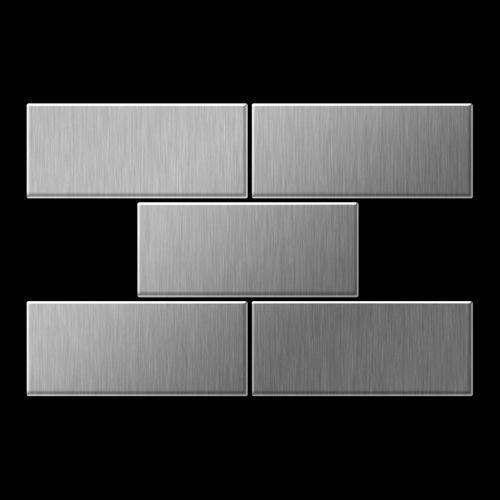 Mosaik Fliese massiv Metall Edelstahl marine gebürstet in grau 1,6mm stark ALLOY Subway-S-S-MB 0,58 m2 – Bild 3