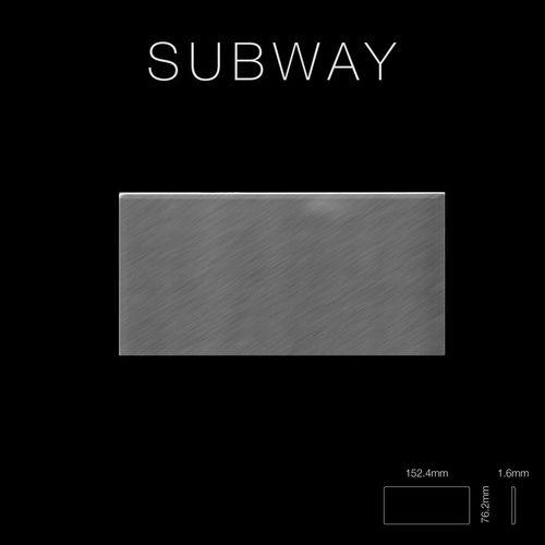 Mozaïektegels massief metaal roestvrij staal Marine geborsteld grijs 1,6 mm dik ALLOY Subway-S-S-MB  – Bild 2