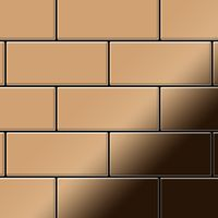 Metal Mosaic Tile Titanium Amber mirror copper 1,6mm Subway-Ti-AM