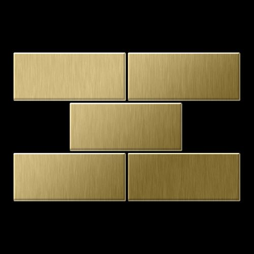 Mosaik Fliese massiv Metall Titan gebürstet in gold 1,6mm stark ALLOY Subway-Ti-GB 0,58 m2 – Bild 3