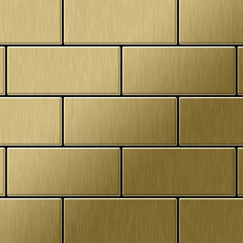 Mosaik Fliese massiv Metall Titan gebürstet in gold 1,6mm stark ALLOY Subway-Ti-GB 0,58 m2 – Bild 1