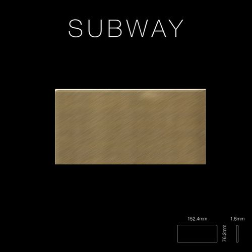 Mosaik Fliese massiv Metall Titan gebürstet in gold 1,6mm stark ALLOY Subway-Ti-GB 0,58 m2 – Bild 2