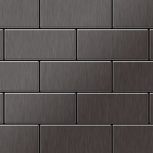 Mosaik Fliese massiv Metall Titan gebürstet in dunkelgrau 1,6mm stark ALLOY Subway-Ti-SB 0,58 m2 – Bild 1