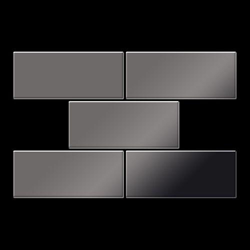Mosaik Fliese massiv Metall Titan hochglänzend in dunkelgrau 1,6mm stark ALLOY Subway-Ti-SM 0,58 m2 – Bild 3