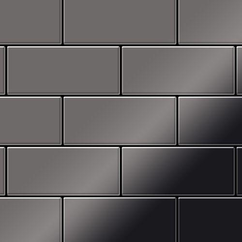 Metal Mosaic Tile Titanium Smoke mirror dark grey 1,6mm Subway-Ti-SM – Bild 1