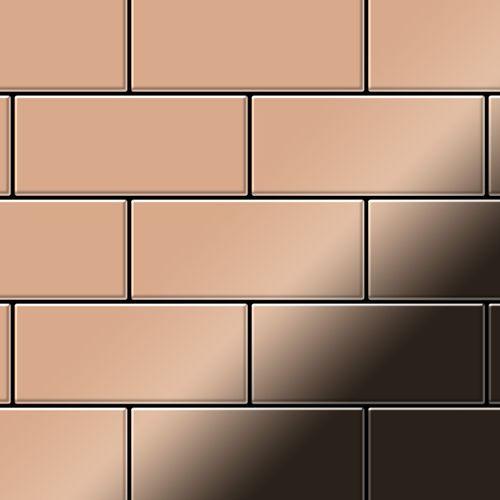 Mozaïektegels massief metaal gewalst koper koperrood 1,6 mm dik ALLOY Subway-CM – Bild 1