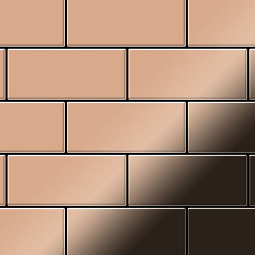 Mosaik Fliese massiv Metall Kupfer gewalzt in kupfer 1,6mm stark ALLOY Subway-CM 0,58 m2 – Bild 1