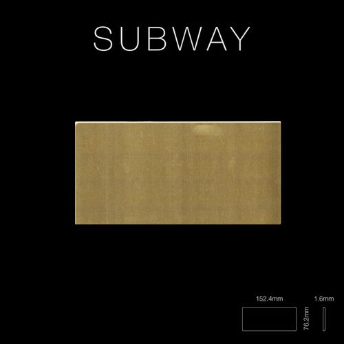 Mosaik Fliese massiv Metall Messing gewalzt in gold 1,6mm stark ALLOY Subway-BM 0,58 m2 – Bild 2