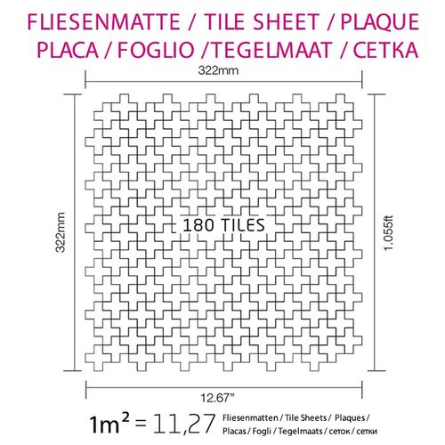 Azulejo mosaico de metal sólido Acero inoxidable cepillado gris 1,6 mm de grosor ALLOY Swiss Cross-S-S-B 0,88 m2 – Imagen 7