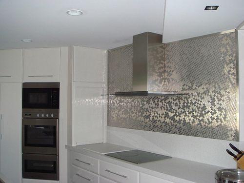 Azulejo mosaico de metal sólido Acero inoxidable cepillado gris 1,6 mm de grosor ALLOY Swiss Cross-S-S-B 0,88 m2 – Imagen 5