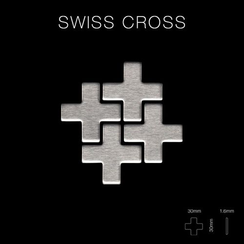 Mosaik Fliese massiv Metall Edelstahl gebürstet in grau 1,6mm stark ALLOY Swiss Cross-S-S-B 0,88 m2 – Bild 2