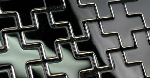 Mosaik Fliese massiv Metall Edelstahl hochglänzend in grau 1,6mm stark ALLOY Swiss Cross-S-S-M 0,88 m2 – Bild 5