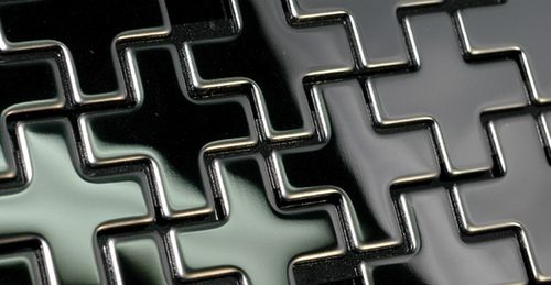 Mosaik Fliese massiv Metall Edelstahl marine hochglänzend in grau 1,6mm stark ALLOY Swiss Cross-S-S-MM 0,88 m2 – Bild 6