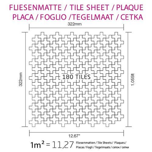 Azulejo mosaico de metal sólido Acero inoxidable Marine cepillado gris 1,6 mm de grosor ALLOY Swiss Cross-S-S-MB 0,88 m2 – Imagen 7
