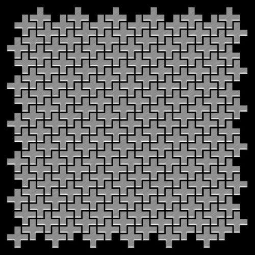 Mosaik Fliese massiv Metall Edelstahl marine gebürstet in grau 1,6mm stark ALLOY Swiss Cross-S-S-MB 0,88 m2 – Bild 3