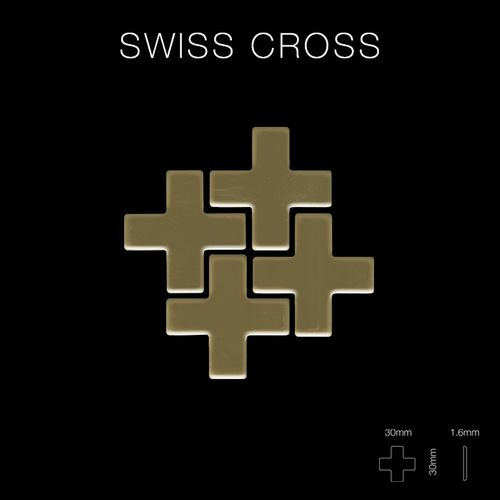 Mozaïektegels massief metaal titaan Gold hoogglanzend goud 1,6 mm dik ALLOY Swiss Cross-Ti-GM – Bild 2