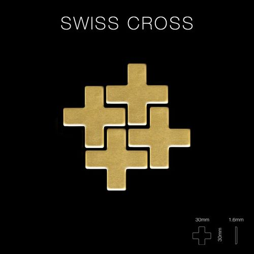 Mozaïektegels massief metaal gewalst messing goud 1,6 mm dik ALLOY Swiss Cross-BM – Bild 2
