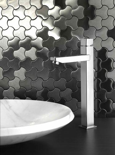 Mosaik Fliese massiv Metall Edelstahl hochglänzend in grau 1,6mm stark ALLOY Ubiquity-S-S-M Designed by Karim Rashid 0,75 m2 – Bild 4