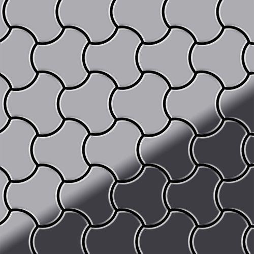 Mosaik Fliese massiv Metall Edelstahl hochglänzend in grau 1,6mm stark ALLOY Ubiquity-S-S-M Designed by Karim Rashid 0,75 m2 – Bild 1