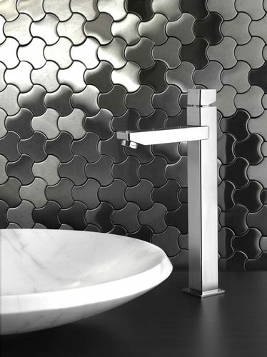 Mosaik Fliese massiv Metall Edelstahl matt in grau 1,6mm stark ALLOY Ubiquity-S-S-MA Designed by Karim Rashid 0,75 m2 – Bild 4